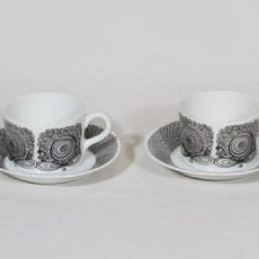 Arabia Calypso kahvikupit, musta, 2 kpl, suunnittelija Esteri Tomula,