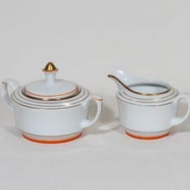 Arabia Raitakulta sokerikko ja kermakko, suunnittelija Greta-lisa Jäderholm-Snellman, raitakoriste, art deco