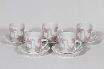 Arabia Villiruusu kahvikupit, 5 kpl, suunnittelija Laila Hakala, serikuva, retro