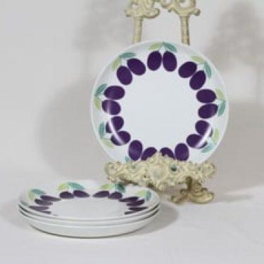 Arabia Pomona lautaset, pieni, 4 kpl, suunnittelija Raija Uosikkinen, pieni, luumu, serikuva