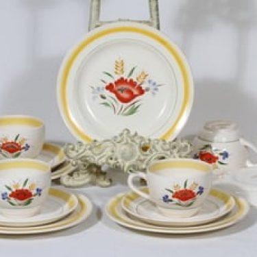 Arabia Kesä kahvikupit ja lautaset, käsinmaalattu, 4 kpl, suunnittelija Rainer Baer, käsinmaalattu