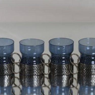 Iittala Tsaikka teelasit, sininen, 4 kpl, suunnittelija Timo Sarpaneva,
