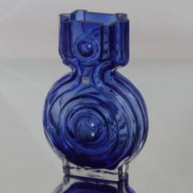 Riihimäen lasi Aitanlukko maljakko, sininen, suunnittelija Helena Tynell,