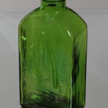 Riihimäen lasi Lankkupullo koristepullo, vihreä, suunnittelija Helena Tynell,