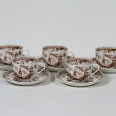 Arabia Singapore kahvikupit, ruskea, 5 kpl, suunnittelija ,