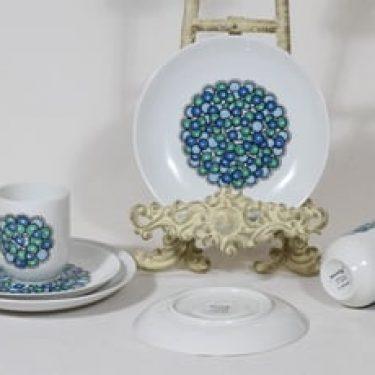 Arabia Marina kahvikupit ja lautaset, 2 kpl, suunnittelija Anja Jaatinen, serikuva, retro