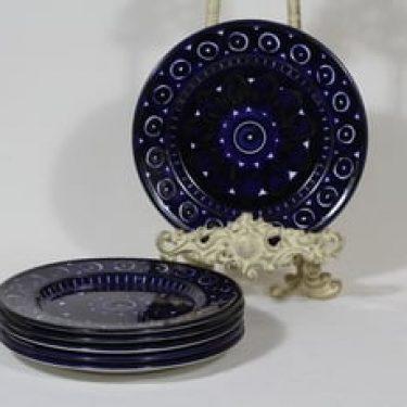 Arabia Valencia lautaset, matala, 6 kpl, suunnittelija Ulla Procope, matala, käsinmaalattu, signeerattu