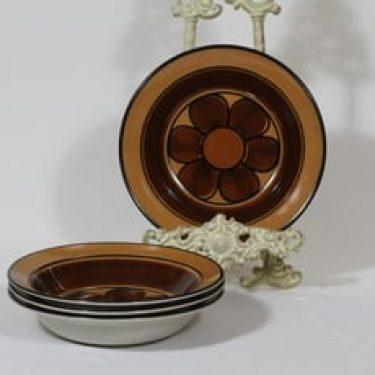 Arabia Kalevala lautaset, syvä, 4 kpl, suunnittelija Anja Jaatinen-Winquist, syvä, käsinmaalattu, signeerattu