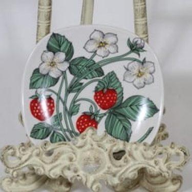 Arabia Botanica koristelautanen, Ahomansikka, suunnittelija Esteri Tomula, Ahomansikka, pieni, serikuva