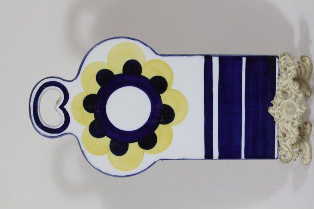 Arabia Paju household plate, yellow-blue, designer Anja Jaatinen-Winqvist, hand-painted, signed, retro
