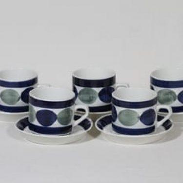 Arabia Nyyrikki kahvikupit, käsinmaalattu, 5 kpl, suunnittelija Raija Uosikkinen, käsinmaalattu