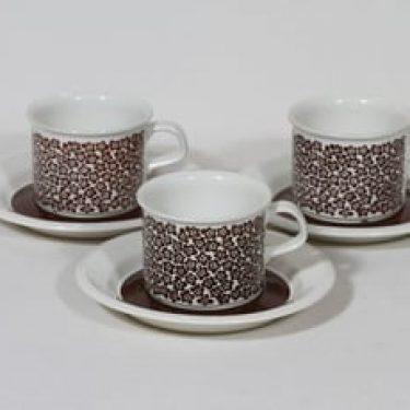 Arabia Faenza kahvikupit, Ruskeakukka, 3 kpl, suunnittelija Inkeri Seppälä, Ruskeakukka, serikuva