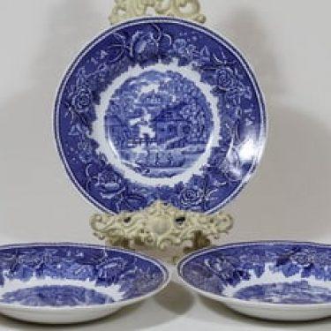 Arabia Maisema lautaset, syvä, 3 kpl, suunnittelija , syvä, kuparipainikoriste