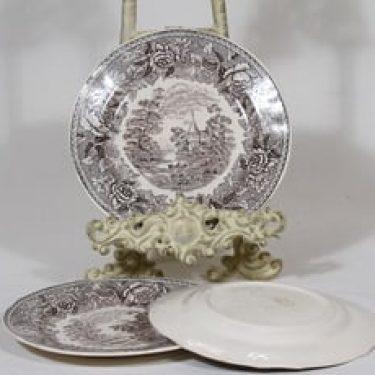 Arabia Maisema pienet lautaset, harmaa, 3 kpl, suunnittelija , kuparipainokoriste