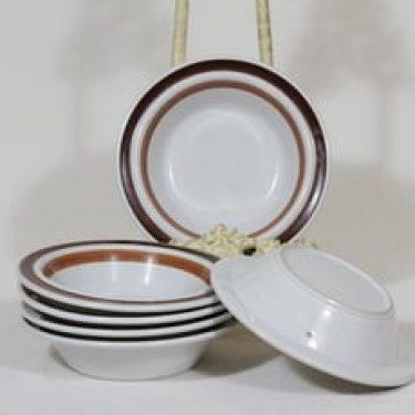 Arabia Rosmarin lautaset, syvä, 6 kpl, suunnittelija Ulla Procope, syvä, käsinmaalattu, signeerattu