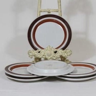 Arabia Rosmarin leivoslautaset, käsinmaalattu, 6 kpl, suunnittelija Ulla Procope, käsinmaalattu, signeerattu