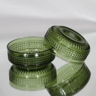 Riihimäen lasi Barokki annoskulhot, vihreä, 2 kpl, suunnittelija Erkkitapio Siiroinen,