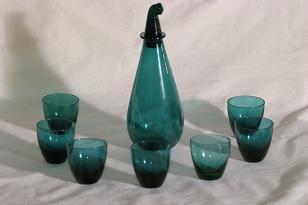 Riihimäen lasi T/339 lasikarahvi ja lasit, 7 kpl, suunnittelija Nanny Still,