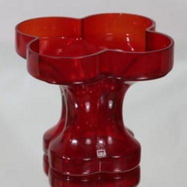 Riihimäen lasi Onnenlehti maljakko, rubiininpunainen, suunnittelija Helena Tynell,