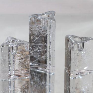 Iittala Arkipelago kynttilänjalat, kirkas, 3 kpl, suunnittelija Timo Sarpaneva, massiivinen