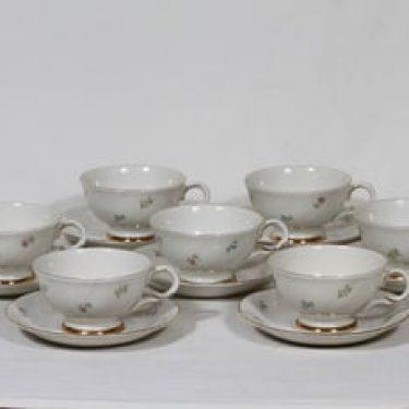 Arabia RE kahvikupit, kukkakuvio, 7 kpl, suunnittelija , kukkakuvio, siirtokuva