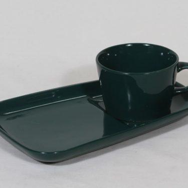 Arabia Kilta kuppi ja erikoislautanen, vihreä lasite, suunnittelija Kaj Franck,