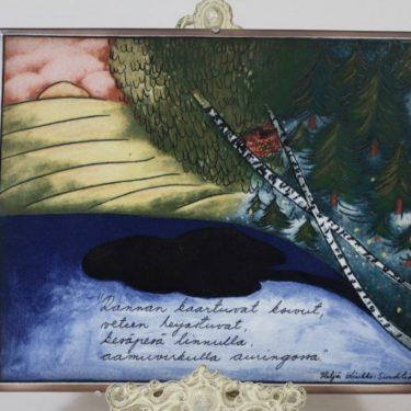 Arabia koristelaatta, Rannan koivut, suunnittelija Heljä Liukko-Sundström, Rannan koivut, suuri, serikuva, signeerattu