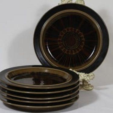 Arabia Kosmos lautaset, matala, 6 kpl, suunnittelija Gunvor Olin-Grönqvist, matala, puhalluskoriste