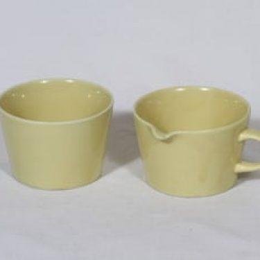 Arabia Kilta sokerikko ja kermakko, keltainen lasite, suunnittelija Kaj Franck,