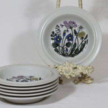 Arabia Flora lautaset, syvä, 6 kpl, suunnittelija Esteri Tomula, syvä, serikuva