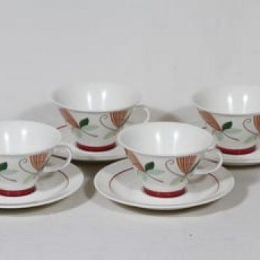 Arabia Harlekin teekupit, Carneval, 4 kpl, suunnittelija Inkeri Leivo, Carneval, serikuva