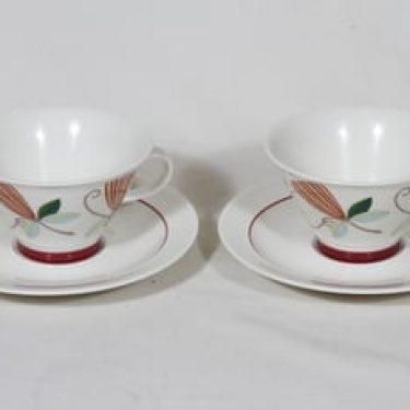Arabia Harlekin teekupit, Carneval, 2 kpl, suunnittelija Inkeri Leivo, Carneval, serikuva