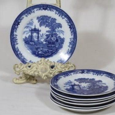 Arabia Canton lautaset, sininen, 7 kpl, suunnittelija , pieni, kuparipainokoriste