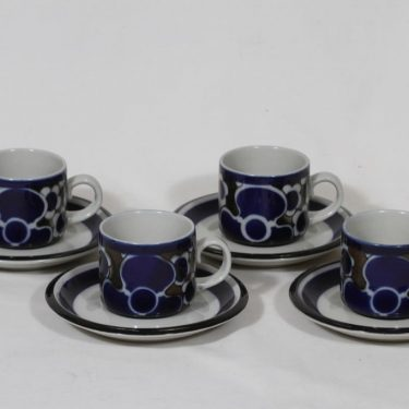 Arabia Saara kahvikupit, 4 kpl, suunnittelija Anja Jaatinen-Winquist, puhalluskoriste, retro