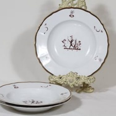 Arabia Diana lautaset, syvä, 3 kpl, suunnittelija Einar Forseth, syvä, siirtokuva, art deco