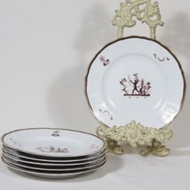 Arabia Diana lautaset, pieni, 5 kpl, suunnittelija Einar Forseth, pieni, siirtokuva, art deco