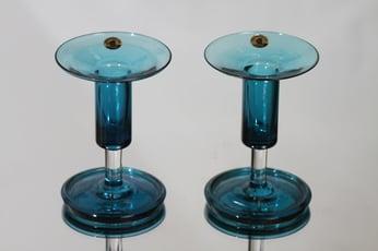 Riihimäen lasi Harlekiini kynttilänjalat, sininen, 2 kpl, suunnittelija Nanny Still, pieni