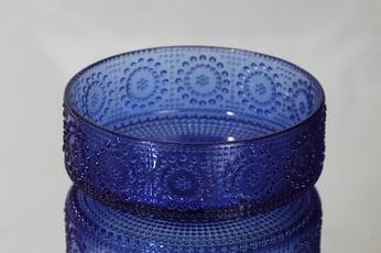 Riihimäen lasi Grapponia kulho, sininen, suunnittelija Nanny Still,