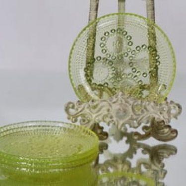 Riihimäen lasi Grapponia lautaset, keltainen, 4 kpl, suunnittelija Nanny Still, pieni