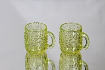 Riihimäen lasi Grapponia kupit, keltainen, 2 kpl, suunnittelija Nanny Still,
