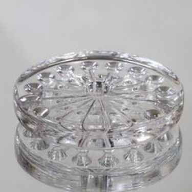 Riihimäen lasi Lumitähti kynttilänjalka, kirkas, suunnittelija Nanny Still, massiivinen