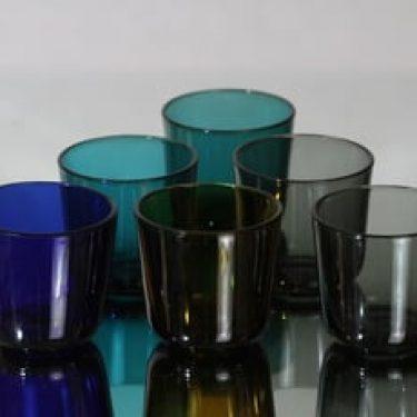 Nuutajärvi 5023 lasit, eri värejä, 6 kpl, suunnittelija Kaj Franck,