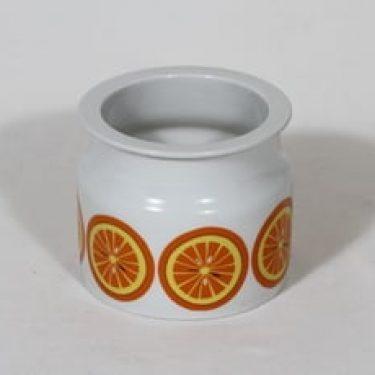 Arabia Pomona purnukka, appelsiini, suunnittelija Raija Uosikkinen, appelsiini, serikuva, suuri, retro