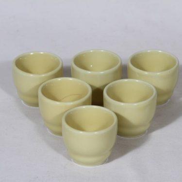 Arabia Kilta munakupit, keltainen lasite, 6 kpl, suunnittelija Kaj Franck,