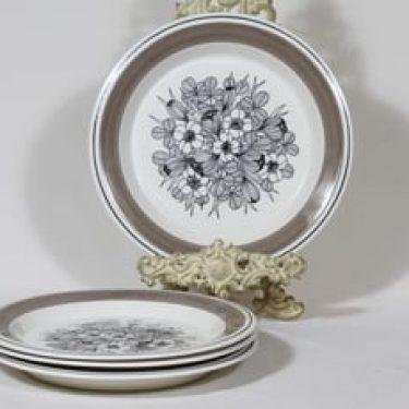 Arabia Krokus lautaset, matala, 4 kpl, suunnittelija Esteri Tomula, matala, serikuva