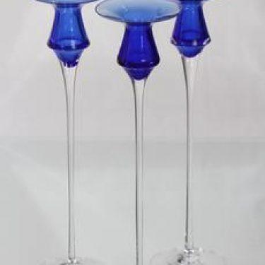 Iittala Cecilia kynttilänjalat, sininen, 3 kpl, suunnittelija Valto Kokko, suuri