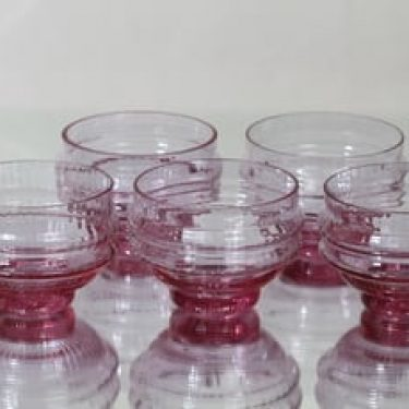 Riihimäen lasi Sulttaani jälkiruokakulhot, ametisti, 5 kpl, suunnittelija Nanny Still,