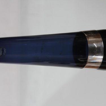 Nuutajärvi SH 105 maljakko, sininen, suunnittelija Saara Hopea, hopeavanne