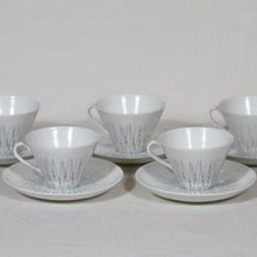 Arabia Stella kahvikupit, viivakoriste, 5 kpl, suunnittelija Raija Uosikkinen, viivakoriste, serikuva