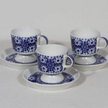 Arabia Ali kahvikupit, sininen, 3 kpl, suunnittelija Raija Uosikkinen, kuparipainokoriste